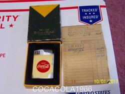 Old Vintage Coke Coca Cola Musical Lighter Deluxe Blue Bird Metal Red Fire Music