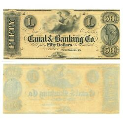1860s Obsolete Banknote Canal Banking Co. New Orleans Fifty Dollars, Crisp Unc