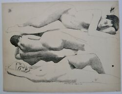 Three Nude Women Lying Down-20 X 26 Ink Drawing-1958-august Mosca