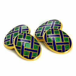 9ct Gold Blue And Green Enamel Weave Pattern Double Sided Chain Oval Cufflinks