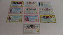 10 Unused Topps 1964 Nutty Awards Postcards 5 1/4 X 3 1/8 All Different Exc