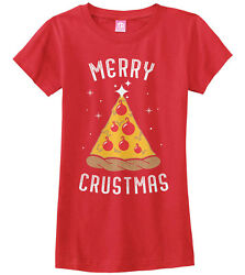 Merry Crustmas Pizza Tree Girls Fitted T Shirt Funny Christmas Gift