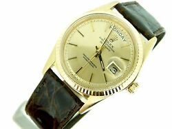 Mens Rolex Day-Date President 18K Yellow Gold Watch Brown Croc Champagne 1803