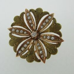 Vintage 10k Yellow Gold Diamond And Seed Pearl Pin Brooch And Pendant
