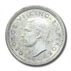 New Zealand George Vi 3 Pence 1942 About Uncirculated Km-7