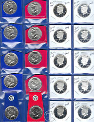 2013 Through 2017 Pdss Bu Clad And Silver Proof Kennedy Half Dollars-20 Coins