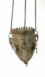 Rare Antique Imperial Russian Hanging Church Or Icon Lamp Filigree Hand Made