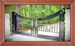 Wrought Iron Style Custom Built Steel / Iron Driveway Gate 1057 Residential