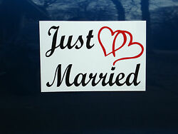JUST MARRIED CAR MAGNETIC SIGN 8quot;X12quot; 2 Color w Hearts FREE SHIPPING Wedding