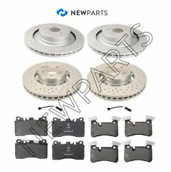 For Mercedes W218 W212 Front And Rear Brake Rotors+pads And Sensors Newparts Premium