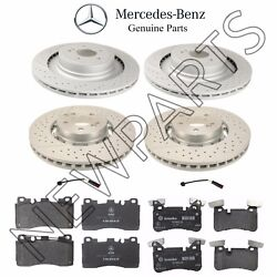 For Mercedes W218 W212 Front And Rear Brake Rotors And Pads W/ Sensors Genuine
