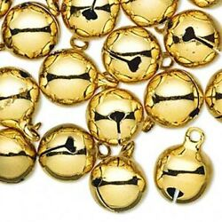 25 Gold Plated Steel 12mm Round Jingle Bells With 2mm Loop
