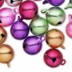 25 Ice Flake Multi Colors 12mm Round Jingle Bells With Clapper