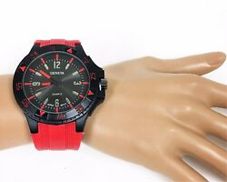 New Geneva Black Tone Dial,red Silicone Band,large Round Dial Watch Gs-125