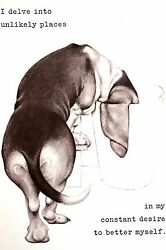 Boswell BASSET HOUND Constant Desire to Improve 1958 Vintage Dog Print Matted