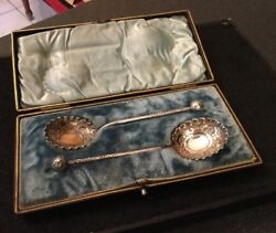 Victorian Antique Silver Plated Spoons Engraved Round Crimped Bowls Boxed Cased