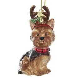 Glass Dog Ornament YORKSHIRE TERRIER wAntlers Xmas Ornament