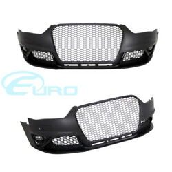 Audi RS Style Front Bumper A4  S4 B8 12-15 Fitment Black Grille w PDC