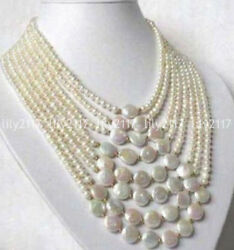 8 Rows Real Natural White 6-7mm 11-12mm Freshwater Coin Pearl Necklaces 17-27and039and039