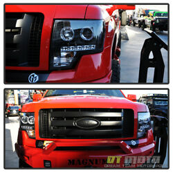 Black 2009-2014 Ford F150 Led Halo Projector Headlights W/daytime Running Lights
