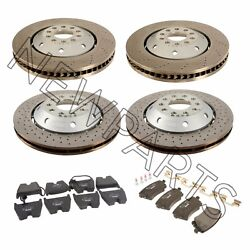 For Audi Rs6 Set Of 2 Front And Rear Disc Brake Rotors+pads W/ Sensors Oem