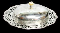 Rare Ca. 1900 Sterling Silver 11 Reticulated Covered Desert Dish