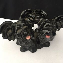 pair GOEBEL Black  SKYE TERRIERS (dogs) PORCELAIN FIGURINE (MINT) Germany