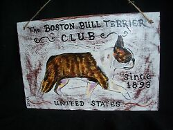 HP Boston Terrier 2 sided SIGN painting hand painted dog ART INNCLUB distressed