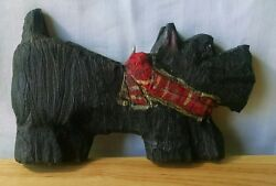 Folk Art Wood Hand Carved Painted Scottie Dog Scottish Terrier Eye Hook Signed