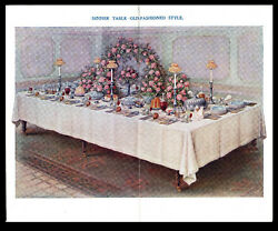 Dinner Table - Old-fashioned Style - Mrs Beeton 1907 Chromolithograph