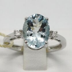 Solid 18k White Gold Band Ring Oval Aquamarine 2.5 Ct And Diamonds Made In Italy