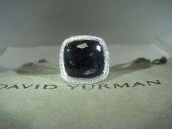 David Yurman Authentic Albion 17mm Orchid Pave Diamond Ring Size 6 W/dy Pouch