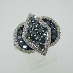 10k White Gold Approx 1.0ct Tw Blue And White Diamond Fashion Ring Size 9 1/4
