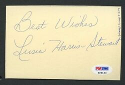 Lusia Harris Stewart Hof Signed Index Card Psa/dna Sticker Only Auto Stock Photo