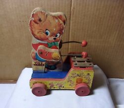 Fisher Price Toys Tiny Teddy Musical Wood Pull Toy Scarce Early Version 634  T