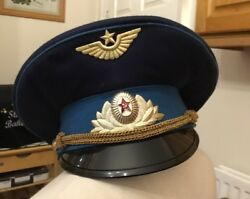 Vintage Soviet Ussr Russian Military Army Officer Visor Hat Cap Size 58