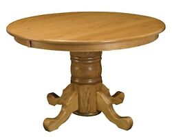Amish Round Dining Table Single Pedestal Traditional 4854 Solid Oak Wood