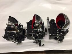 Vintage Speed Rochester 2g 3 X 2 Carb Set In Gloss Black Tri Power Hot Rod