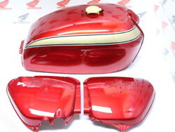 Honda Cb 750 Four K2 Fuel Tank And Side Cover Color Candy Ruby Red Reproduction