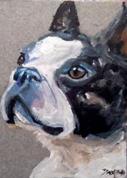 ACEO ORIGINAL IMPRESSIONISM ACRYLIC PAINTING 3.5 X 2.5 IN. BOSTON TERRIER DOG