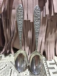 2 Manchester Southern Rose Sterling Silver Teaspoons