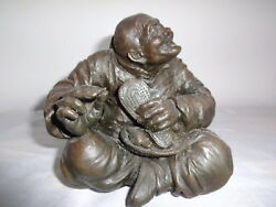 Antique Hand Made Bronze Old Man With Shoe Statue Figurine One Of Kind