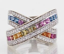 18k White Gold Rainbow Sapphire And Diamond Ring - 3 Carats Total Weight