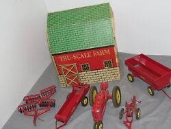 Vintage Tru Scale M Tractor Barn Set With Box Very Rare Set Plow Spreader Disc