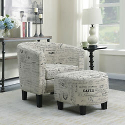 Accent Barrel Chair W/ Ottoman Round Arms Curved Back French Print Script