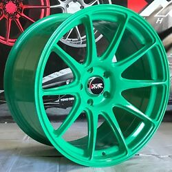 Xxr 527 Green 18 Concave Staggered Wheels 5x114.3 Fits 95 98 Nissan 240sx Se S14