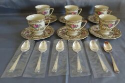 Heinrich And Co Selb Germany 9501 6 Demitasse Cups And Saucers W/silverplate Spoons