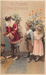 Hold To Light Santa In Red Suit Christmas Postcard, Boy And Girl, Toys C. 1904-14