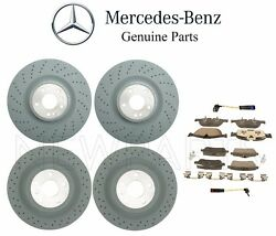 For Mercedes X166 Gl450 Front And Rear Brake Disc Rotors W/ Pads And Sensors Oes Kit