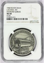 1968 Laconia Nh New Hampshire Diamond Jubilee Silver Town Medal - Ngc Ms 68